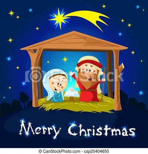 clipart vector of merry xmas nativity