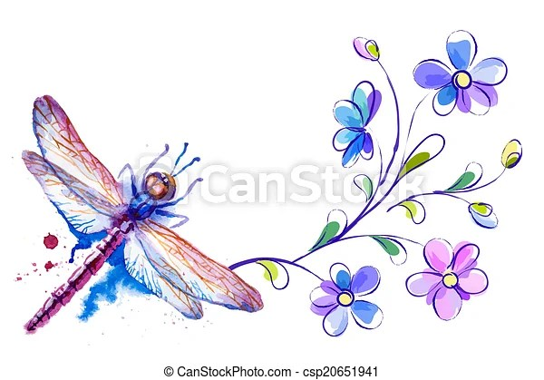 eps vector of dragonfly and flowers