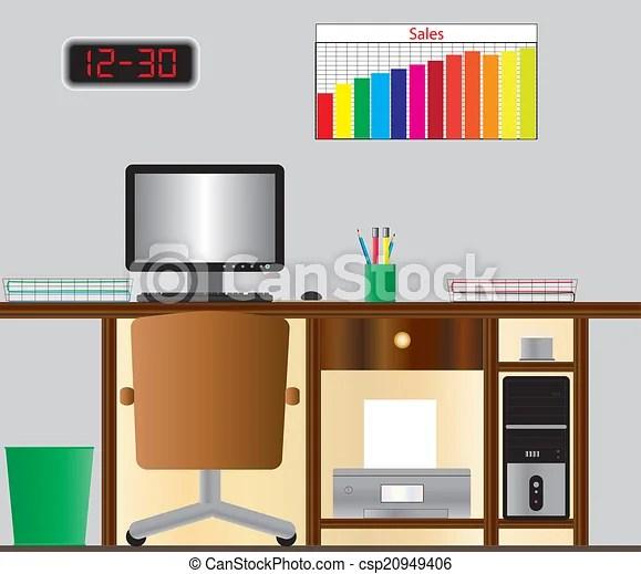 computer desk stock illustration