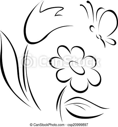 Wektory EPS wiosna, kwiat, Szkic, biały, tło csp20999897