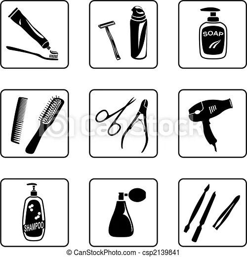 Vektor Clip Art av personlig, hygien, objekt, svart, vit