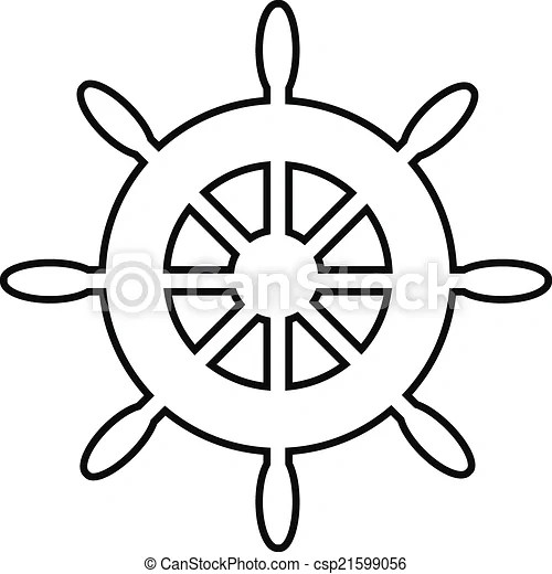 Clipart Vector of Steering wheel icon on white background