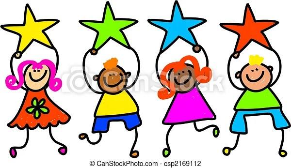 clip art of star kids - whimsical