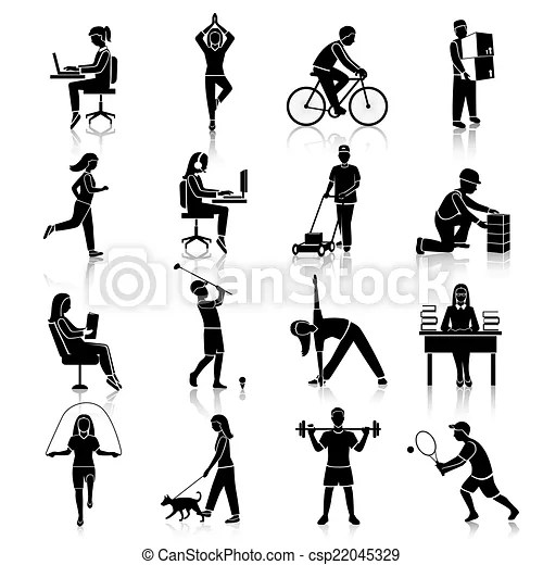 Vector Illustration of Physical activity icons black