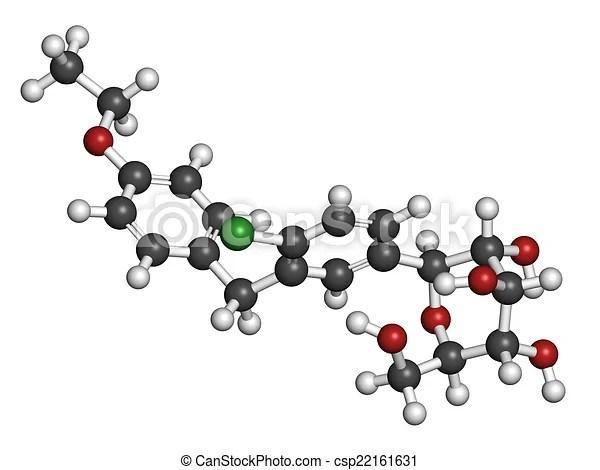 Drawings of Dapagliflozin diabetes drug molecule