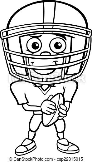 Vector Clip Art of boy football player coloring page