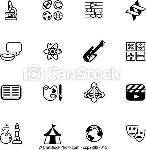 Vector Clip Art of Education or quiz subject icons