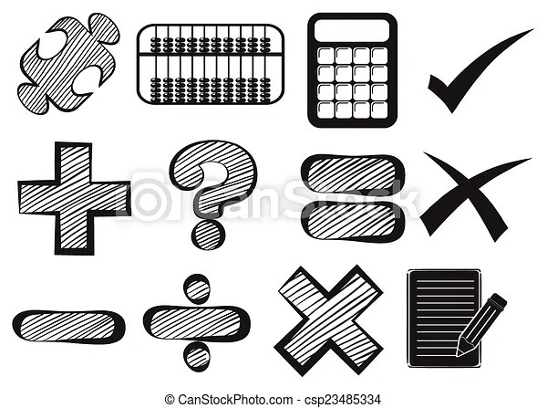 Vectors of Doodle design of the different math operations