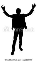 standing boy pose vector hands clipart open silhouette young clip drawing drawings icon graphics line canstockphoto eps