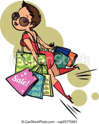 cartoon funny shopping vector colorfull clipart clip drawings icon drawing icons graphic canstockphoto