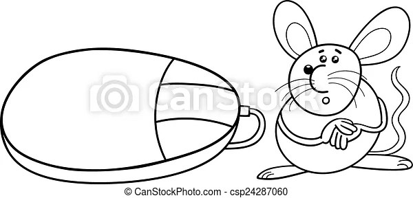 Clip Art Vector of computer and real mouse coloring page