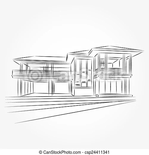 EPS Vector of 3D rendering wire-frame of house. White