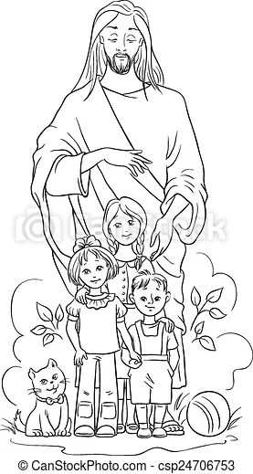 Clipart Vector of Jesus with children. Colouring page