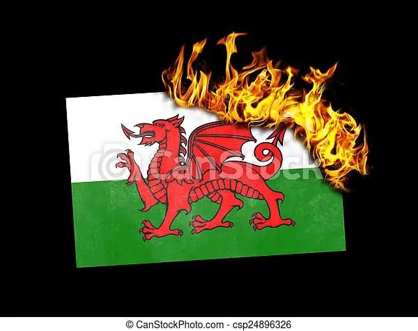 Image result for burning welsh flag