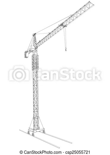 Clip Art of Wire-frame tower crane, isolated on white