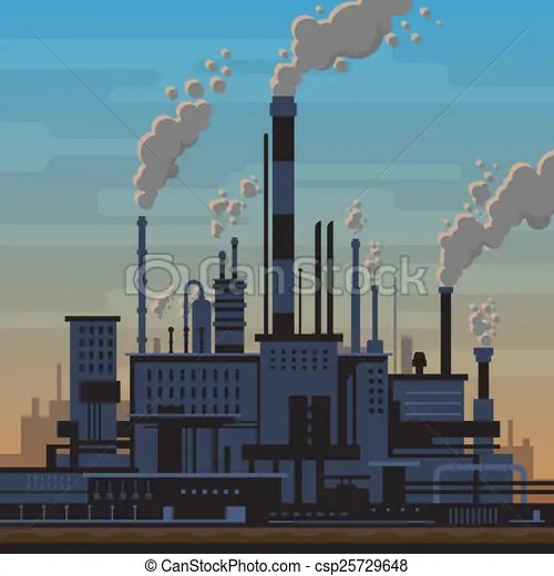 drawing of industrial plant landscape