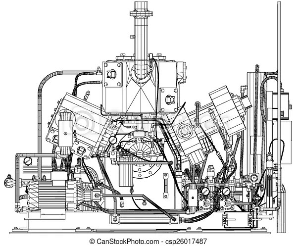 Wire-Frame Industrial Equipment Engine. Eps 10