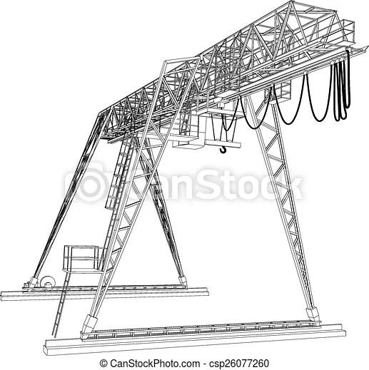 Gantry Crane. Wire-Frame. Vector Rendering Of... Vector