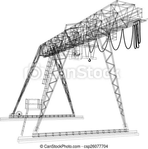 Vector Clipart of Gantry crane. Wire-frame. Vector