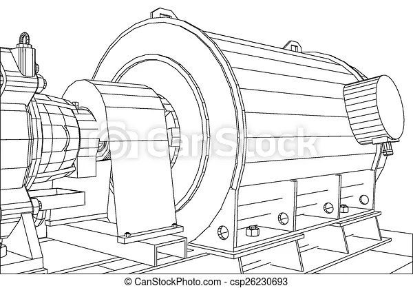 EPS Vectors of Wire-frame industrial equipment oil and gas