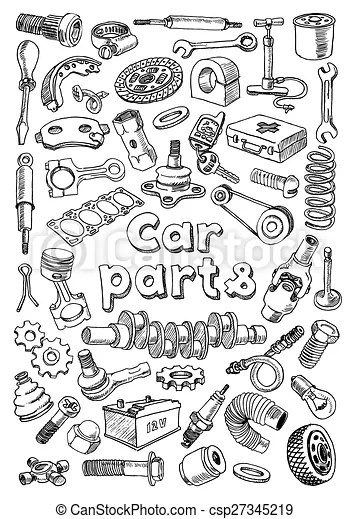 Vector Clip Art of Car parts in freehand drawing style