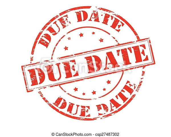 vector clipart of due date - rubber