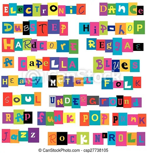 vector clipart of music genres