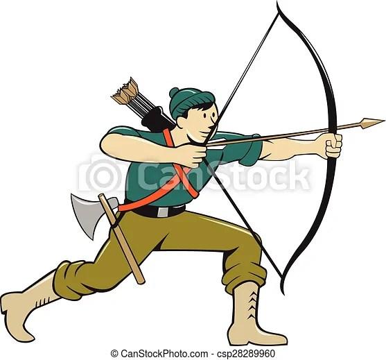 Clip Art Vector of Archer Aiming Long Bow Arrow Cartoon