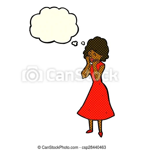 Stock Illustration of cartoon worried woman with thought