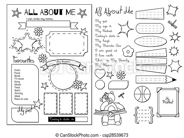 Vectors Illustration of All about me. School Printable