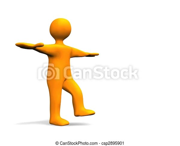 Clipart of Balance 3D illustration looks a humanoid