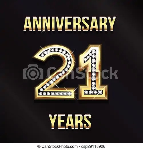vector illustration of 21 years