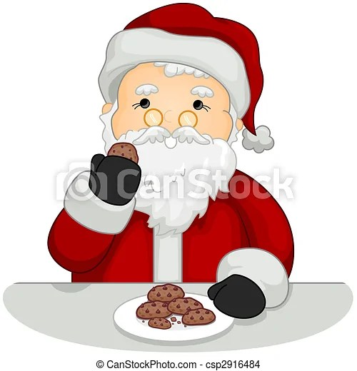 drawing of santa eating cookies