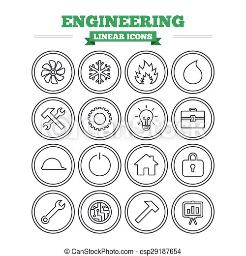 Clipart Vector of Engineering linear icons set. Thin