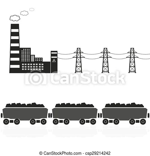 EPS Vector of coal power plant and train with coal eps10