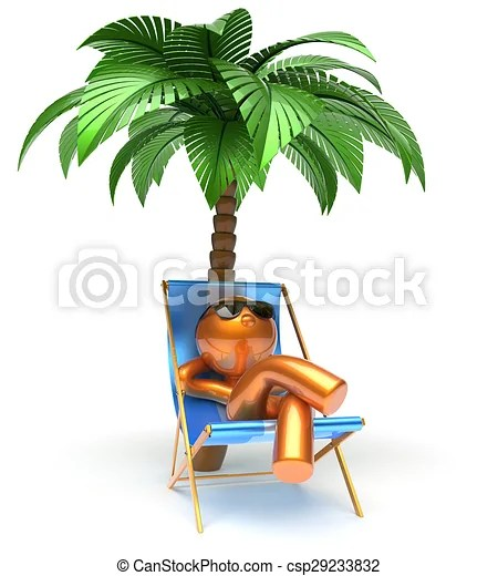 palm tree relaxing beach deck chair - stock illustration, royalty free ...