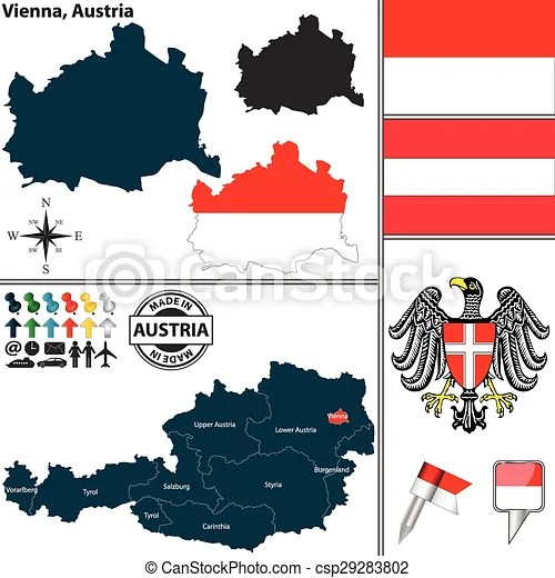 Vector Clipart of Map of Vienna Austria Vector map of
