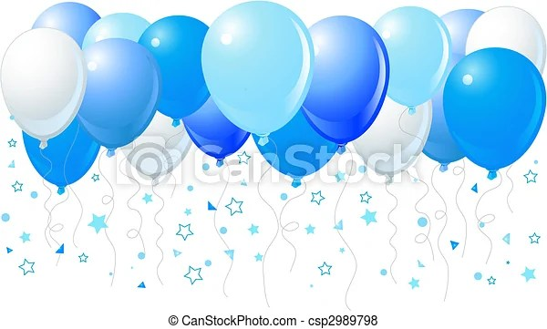 vector of blue balloons flying