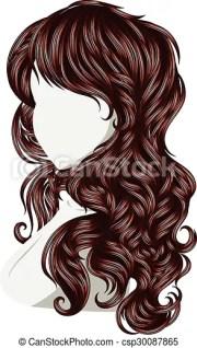 clip art vector of curly hair style