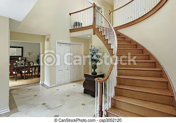 Stock Photography of Foyer with curved staircase  Foyer