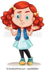 clipart vector of little girl