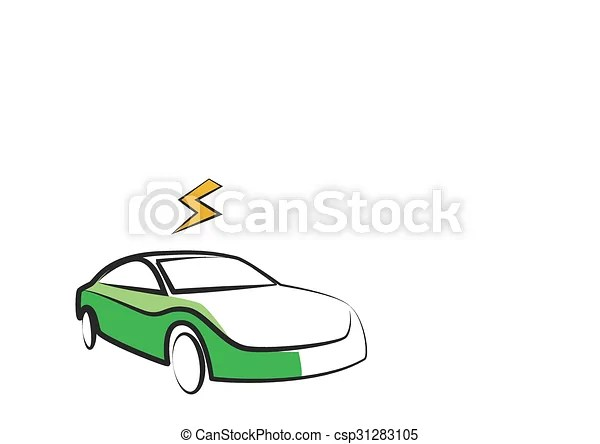 Vector Clipart of modern electric car silhouette. electric