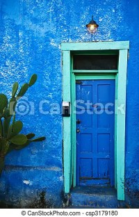 Stock Photography of Blue door with teal frame - in the ...