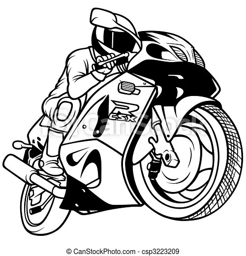 Stock Illustration of Motorcycle Racing, Hand Drawn
