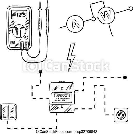 EPS Vector of Voltmeter, electricity meter and electrical