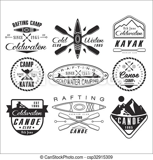Vector Clipart of Kayak and canoe emblems, badges, design