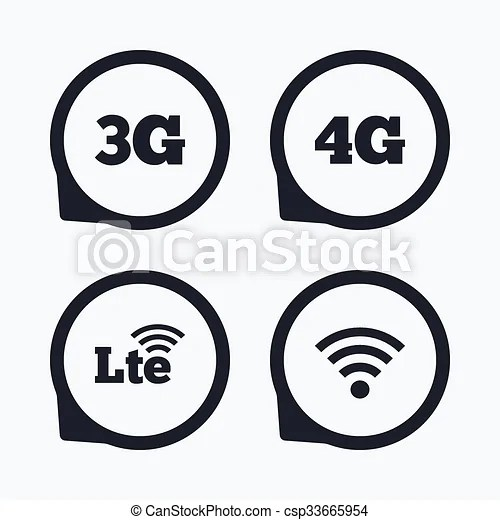Clipart Vector of Mobile telecommunications icons. 3G, 4G