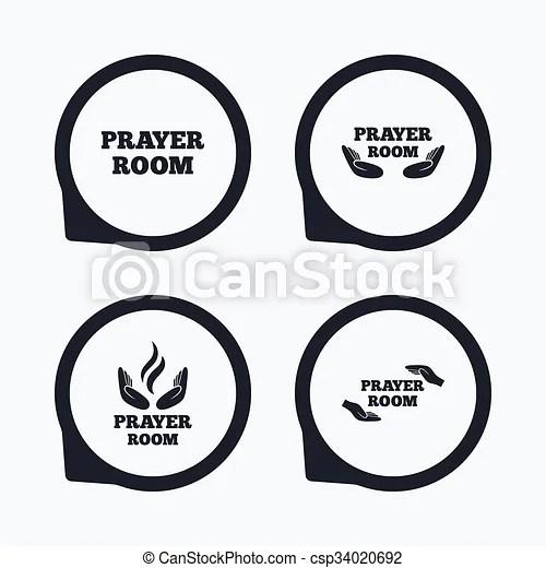 EPS Vectors of Prayer room icons. Religion priest symbols