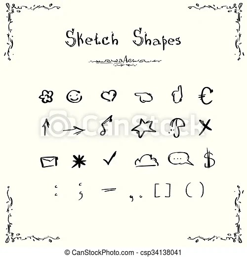 EPS Vector of Sketch Shapes Symbols Signs Set Collection