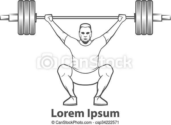 Vectors Illustration of crossfit weightlifting logo